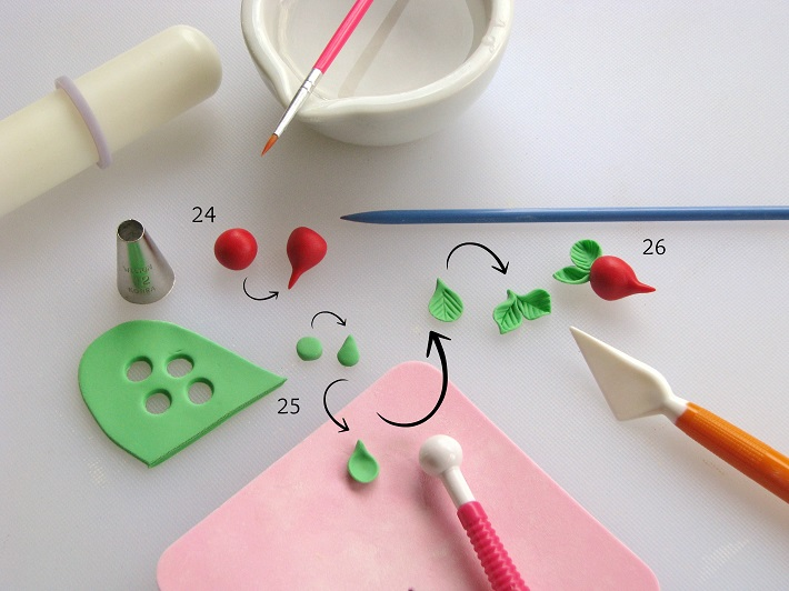 How to Make Fondant Radish Toppers