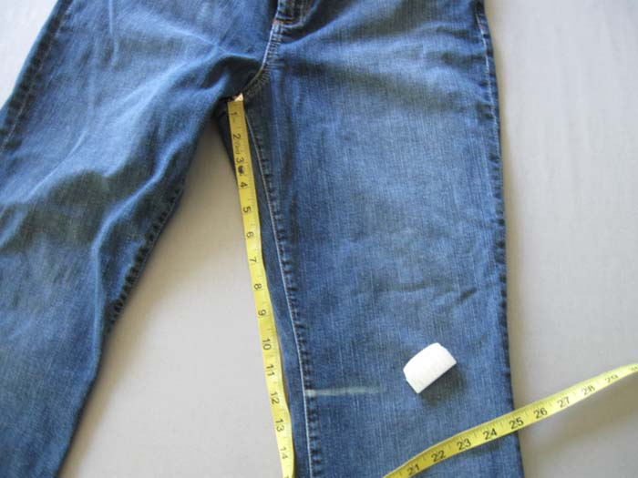 mark cut line on jeans
