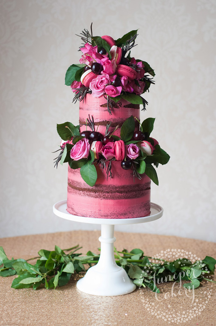Semi-Naked Pink Cherry Cake