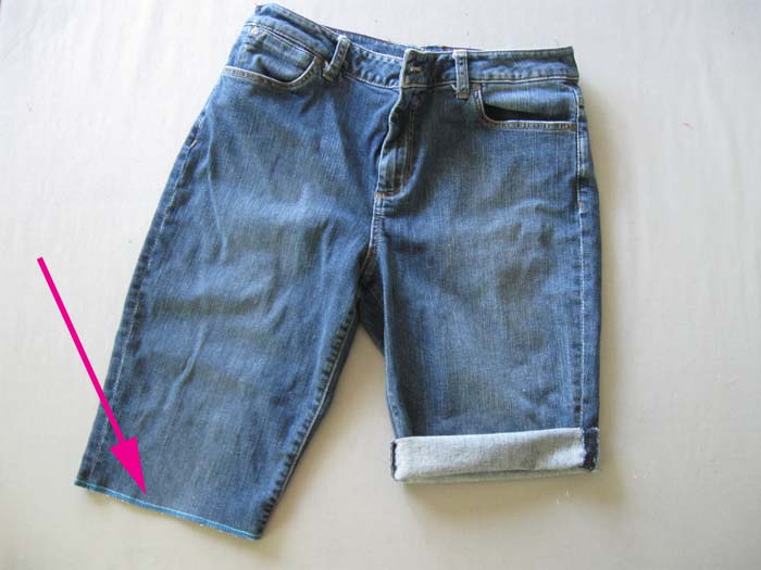 rolled up jeans shorts