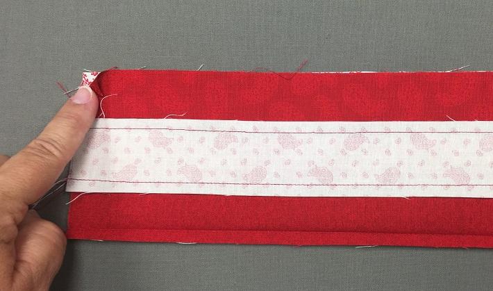 sew strip set into tube