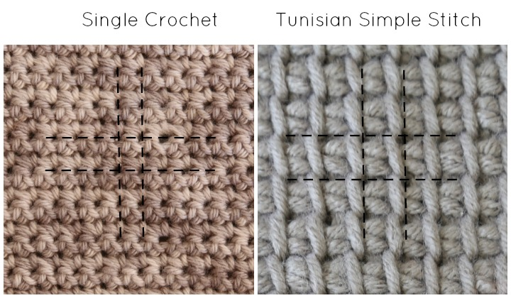 Single Crochet and Tunisian Simple Stitch Canvas