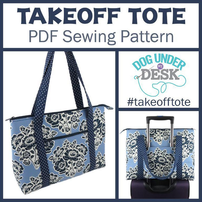 tote bag shown with suitcase