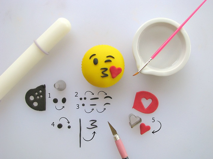 Throwing a Kiss Emoji Cupcake Topper