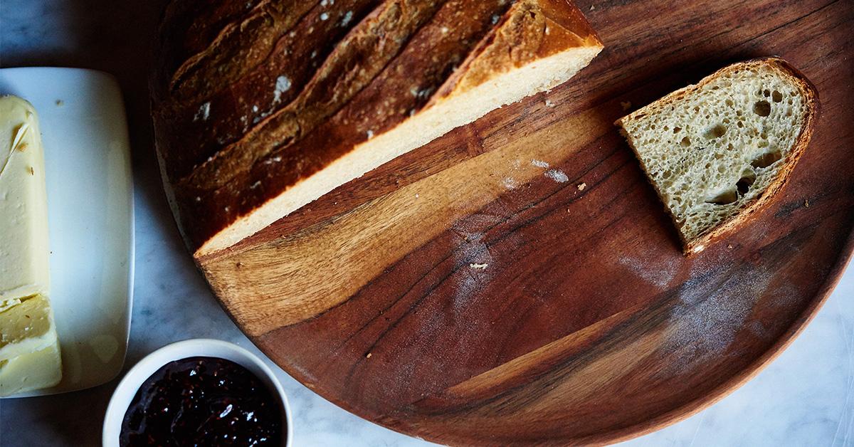 Slice of Bread on Wooden Serving Platter