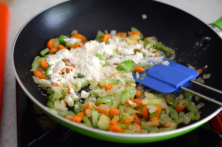 Cooking Mirepoix for Chicken Pot Pie