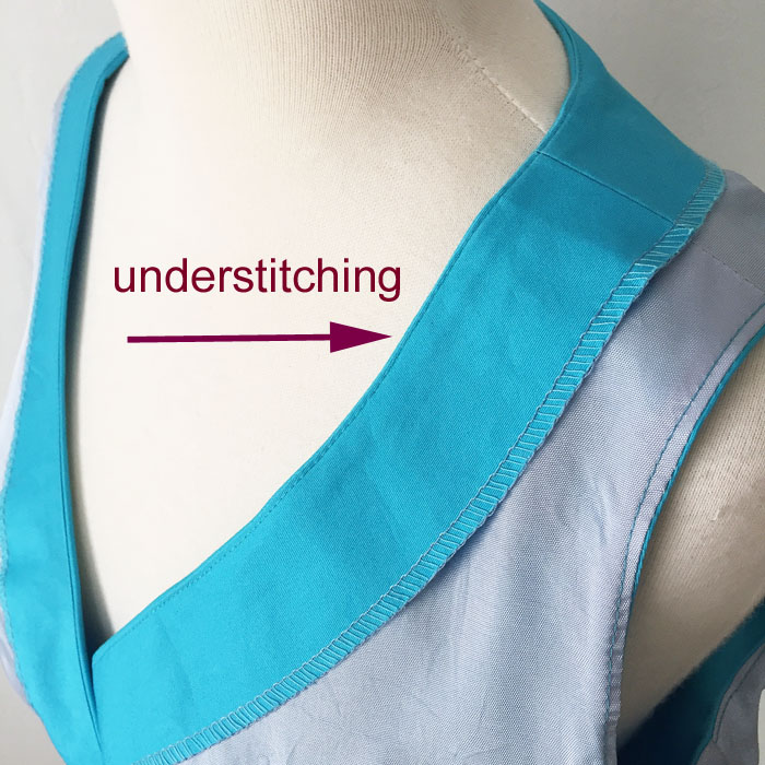 example of understitching on a dress neckline
