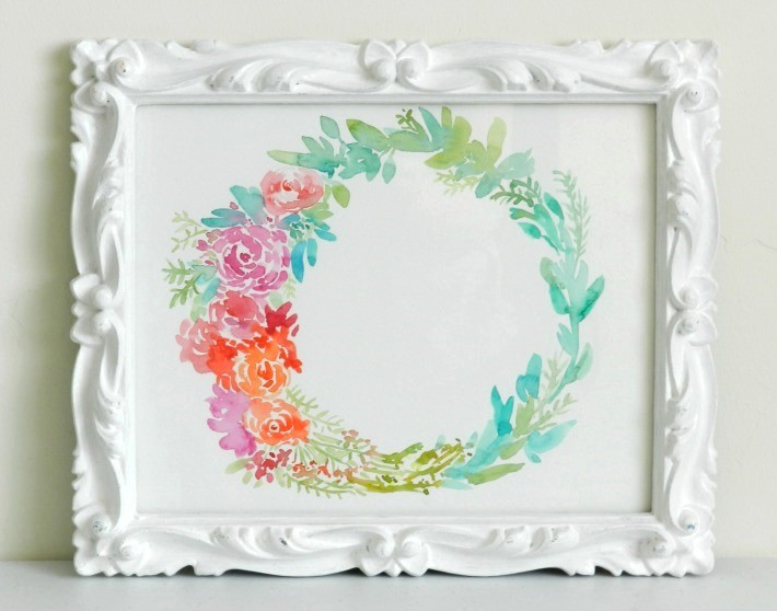 Abstract Floral Watercolor Wreath Painting in Ornate White Frame