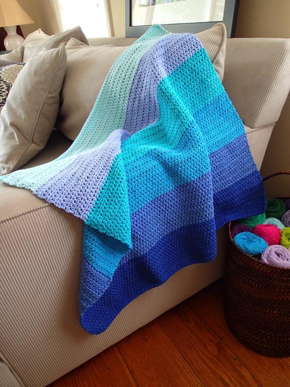 Ombre Blue Sky Baby Blanket FREE Crochet Pattern