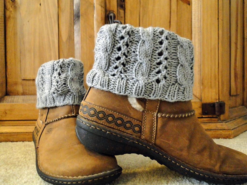 Cable Eyelet Boot Cuffs Knitting Pattern