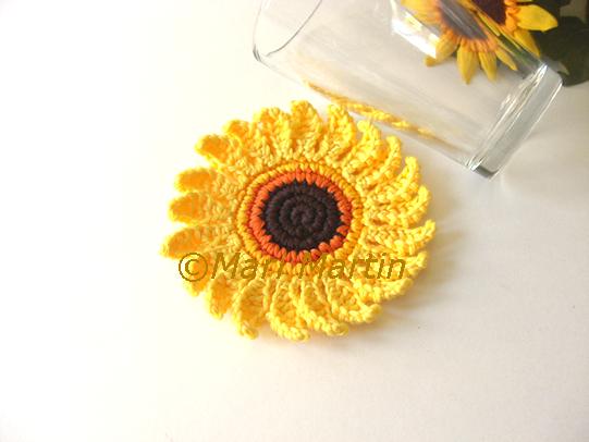Crochet Coaster Sunflower Pattern