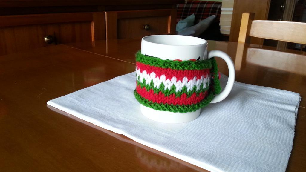 Red, White and Green Knit Mug Cozy for Christmas