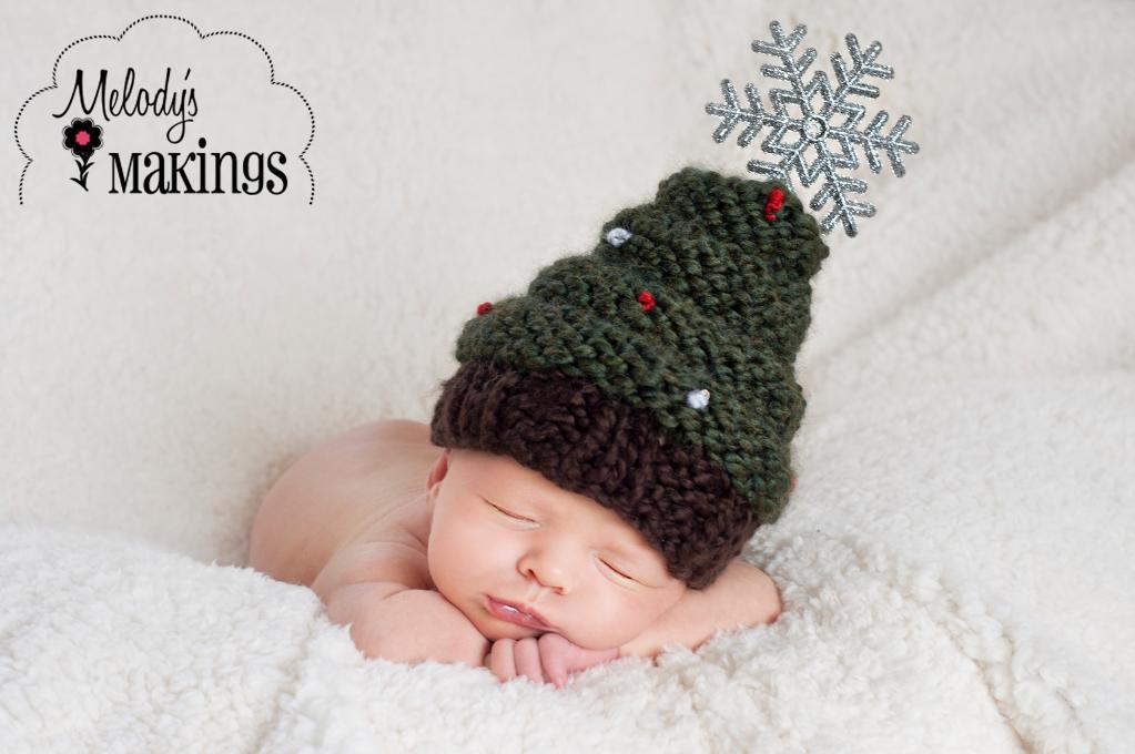 Knit Christmas Tree Baby Hat