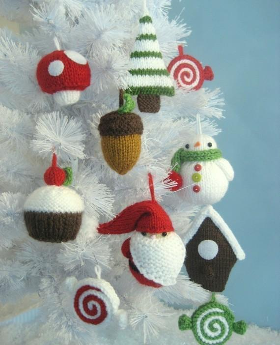 Set of Whimsical Knit Christmas Ornaments