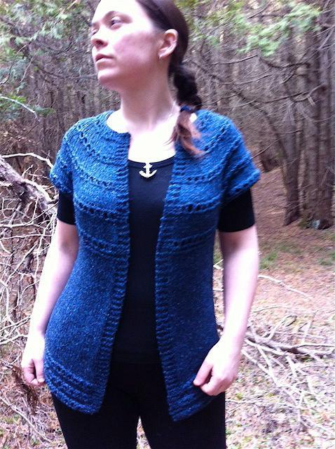 Grommet Eyelet Ridge Cardi-Vest Knitting Pattern