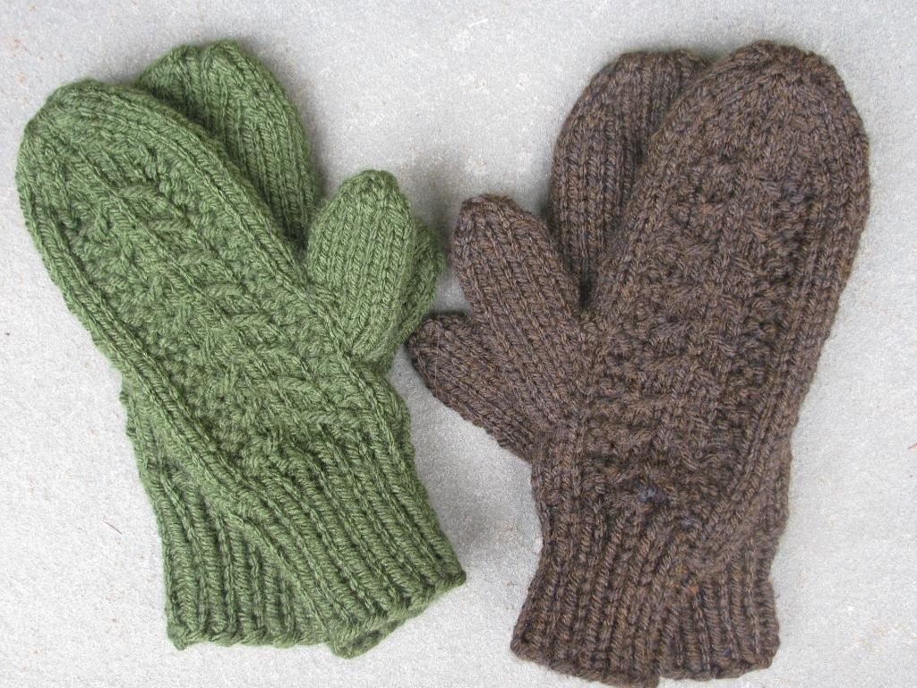 Green and Brown Knit Mittens
