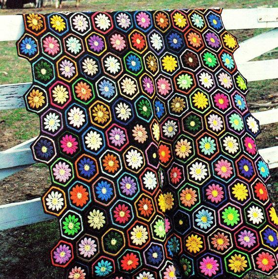 Floral Hexagon Afghan Crochet Pattern