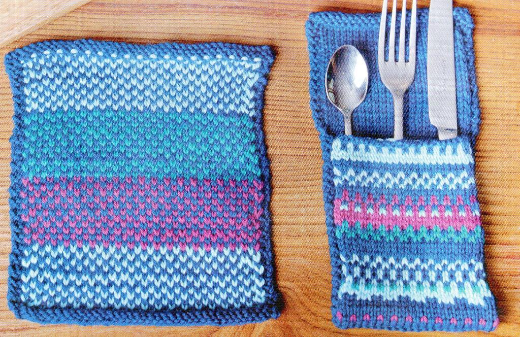 Placemat, Cutlery holder & Mug Cosy Free Knitting Pattern