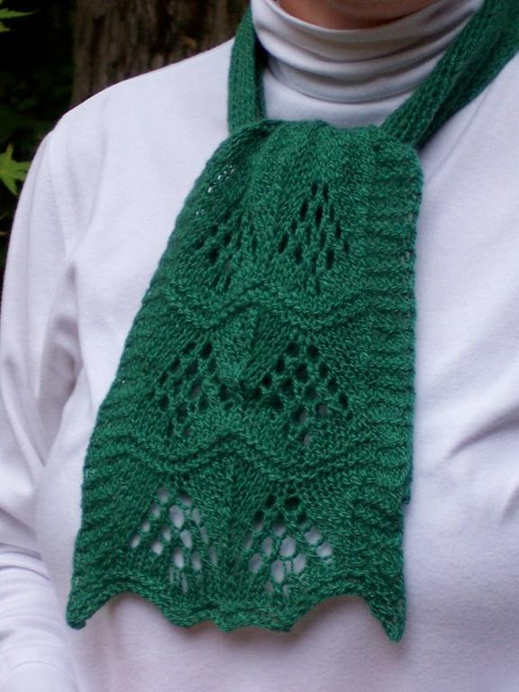 Green Knit Lacy Christmas Scarf