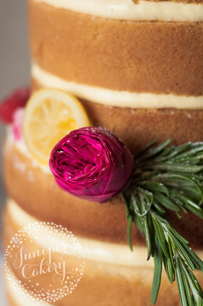 Naked Cake with Garden Roses and Lemon Slices