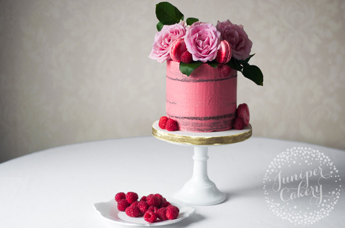 Small Pink Cake with Raspberries