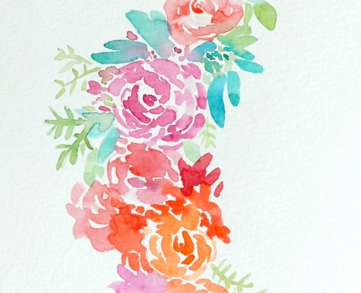 Here's an up-close view of a watercolor wreath painting. You can see how the flowers and stems blend together slightly.