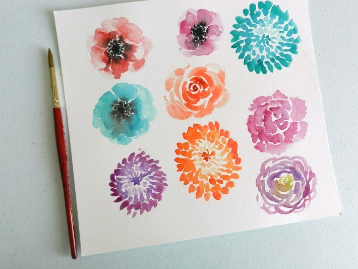 Visual library of different types of watercolor flowers