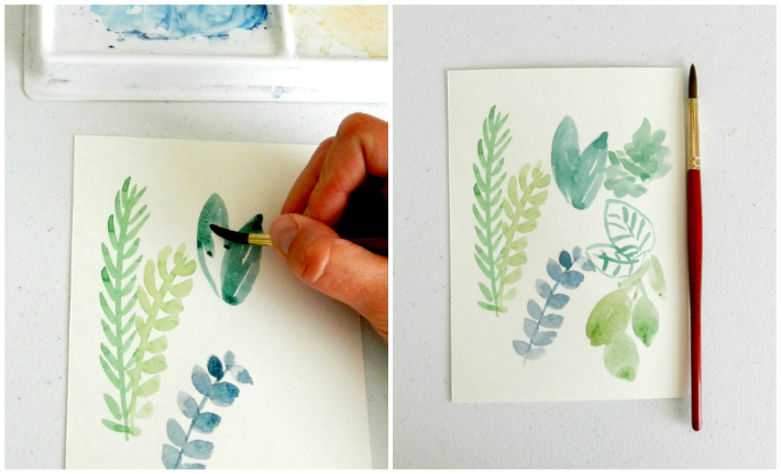 How to paint watercolor greenery like leaves and stems for a watercolor wreath.