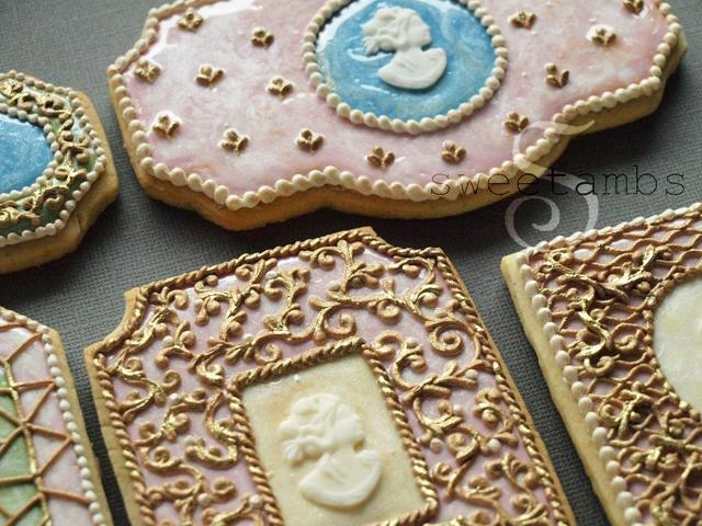 Gold Royal Icing Cookies by Amber Spiegel