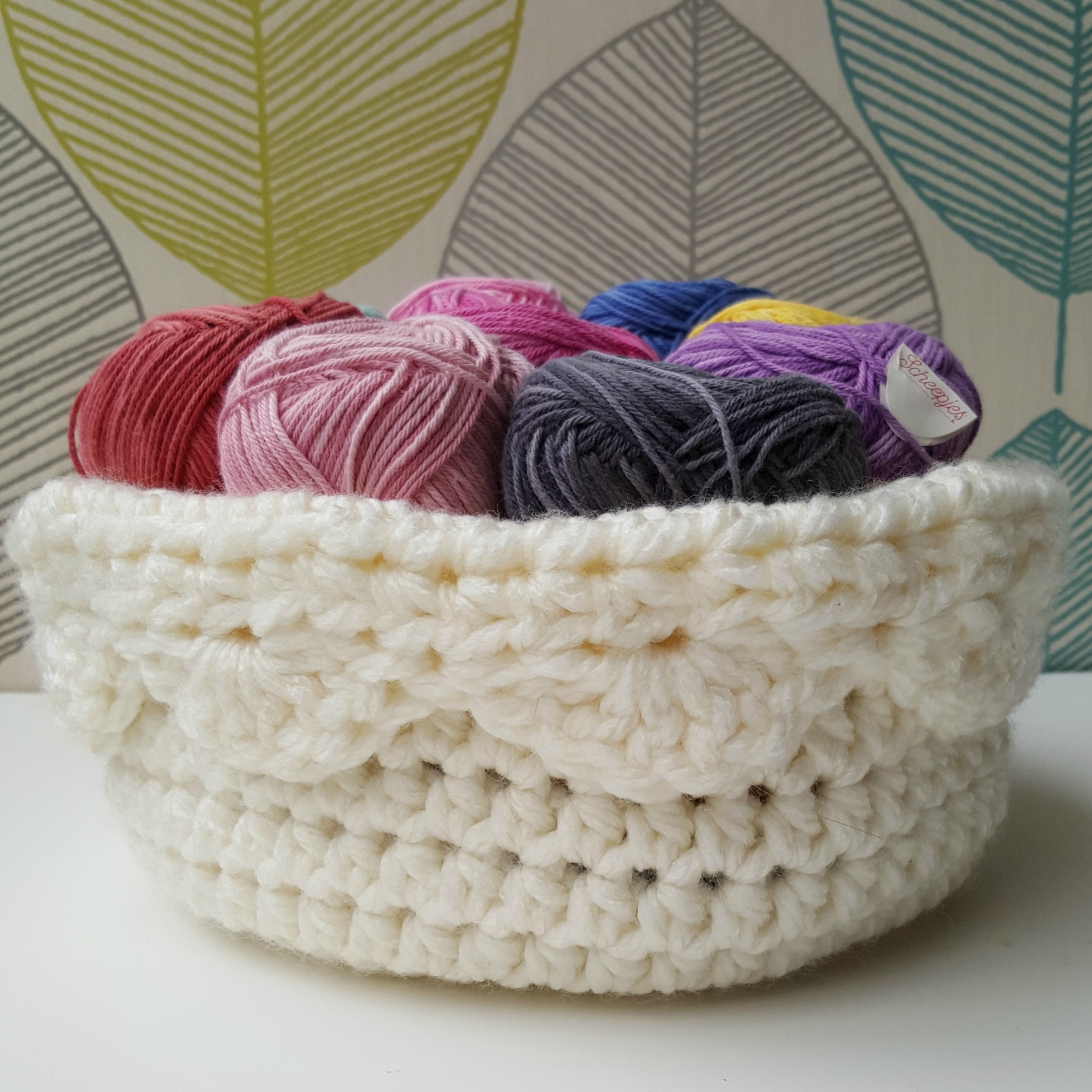Crochet Basket with a Scalloped Edge Folded Over