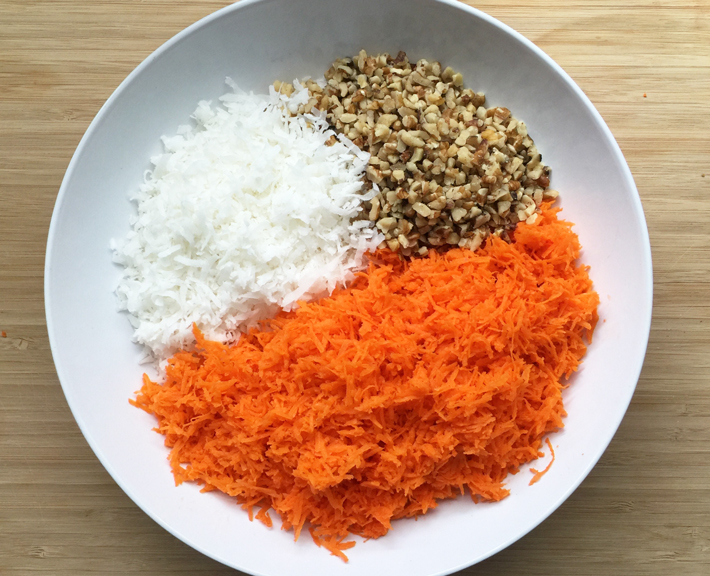 Shredded Carrots, Chopped Walnuts and Coconut Flakes — the makings of a delicious carrot cake!
