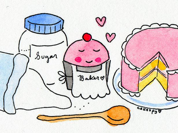 Cartoon of Cake, Cupcakes and Bag of Sugar