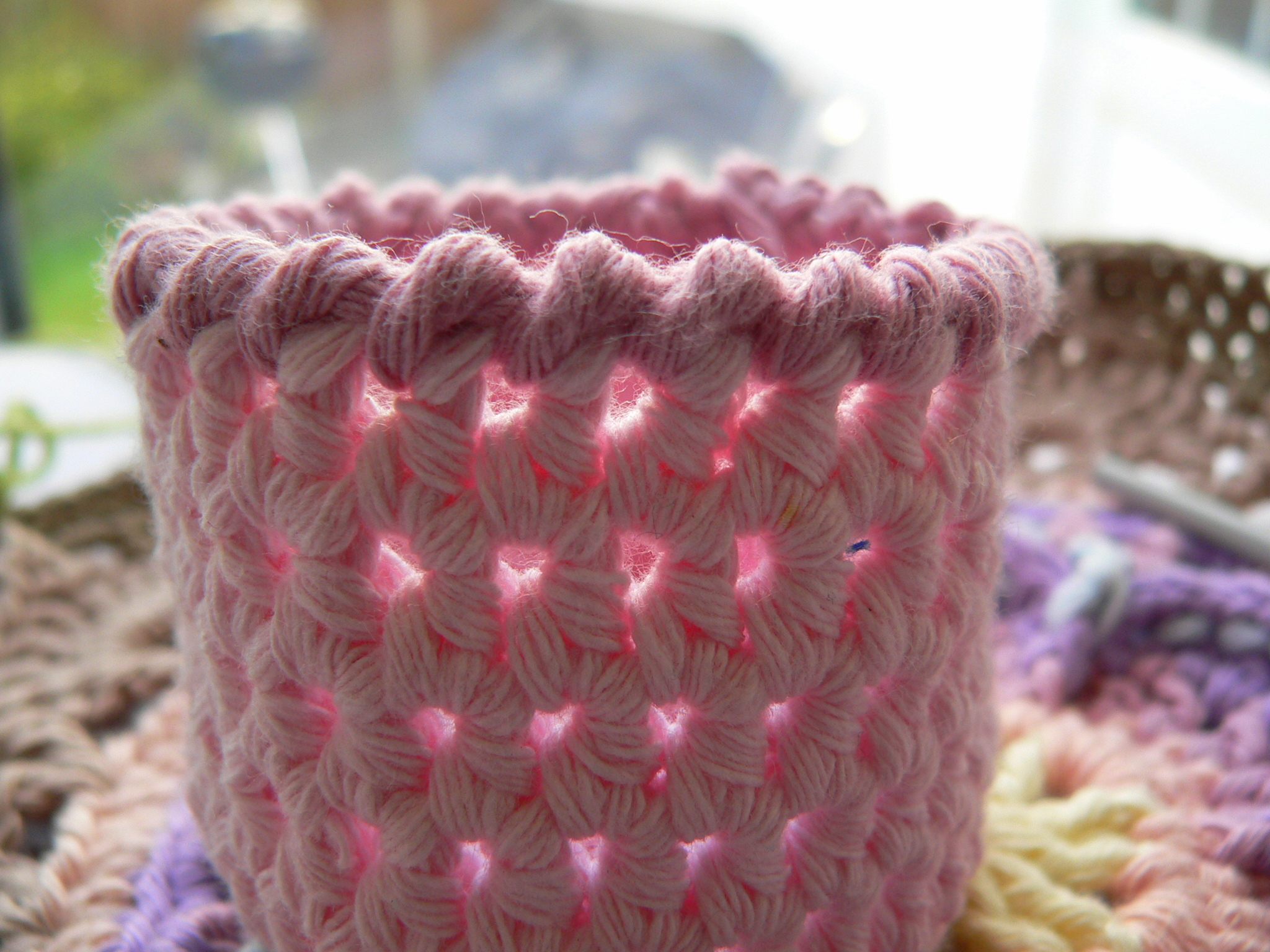Pink Crochet Basket with a Crab Stitch Edge