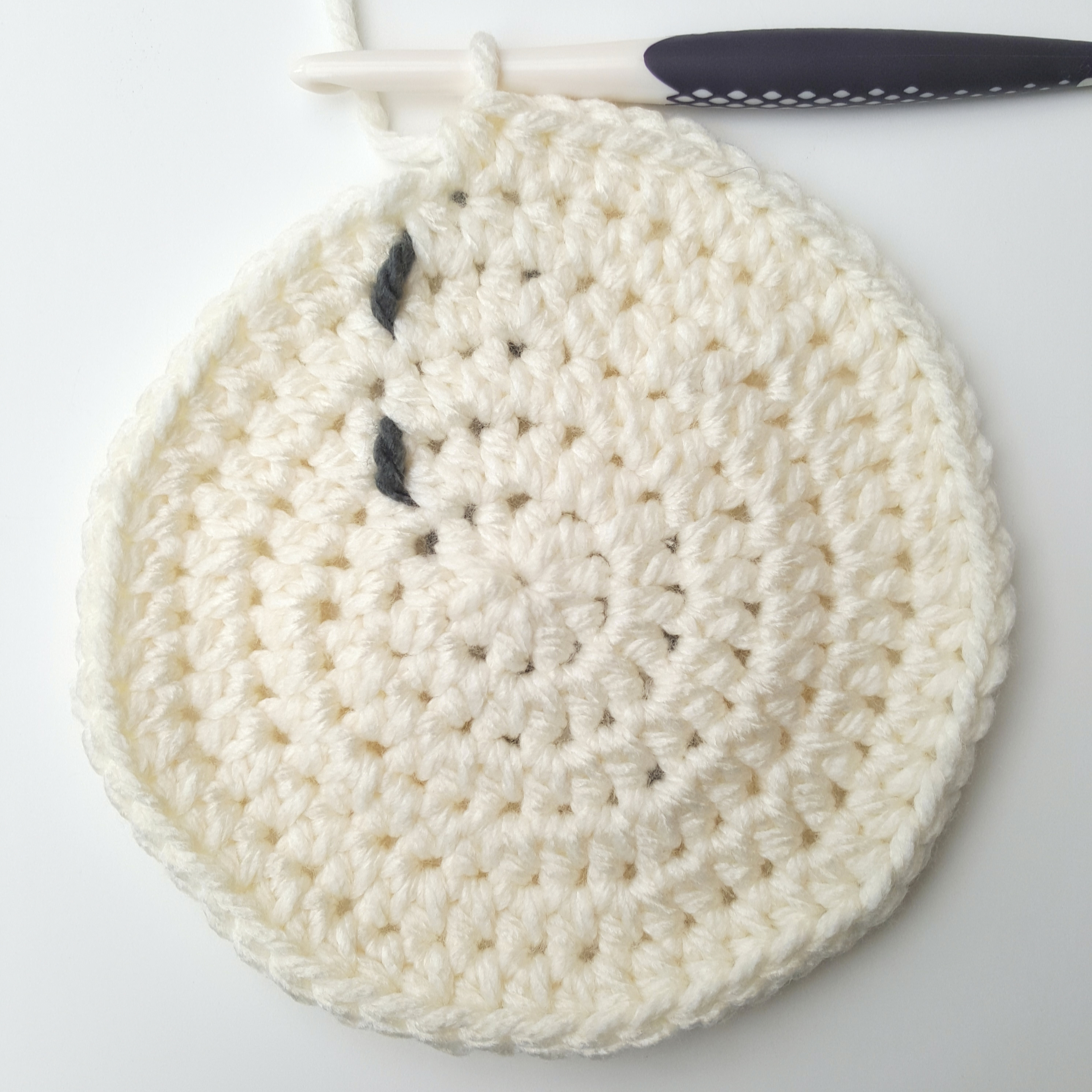 Crochet a flat circle for the base of your basket
