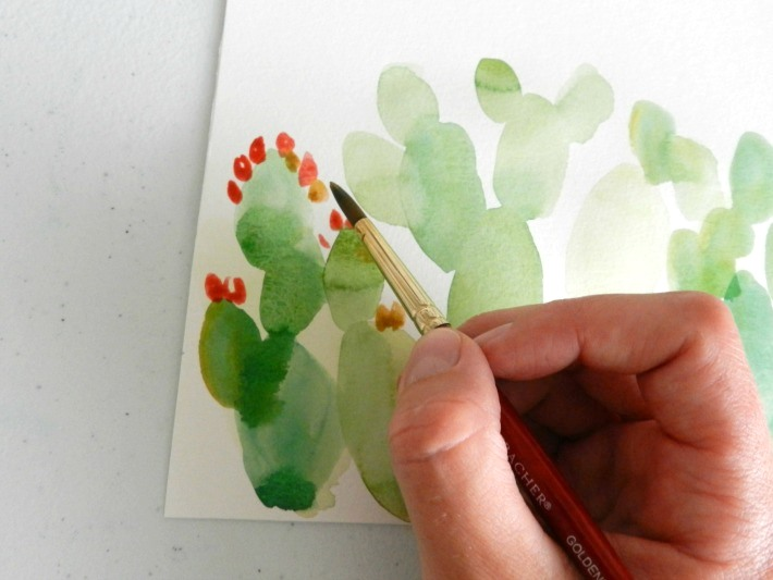 Make your prickly pear cactus painting realistic with details.
