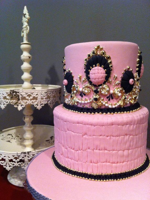 Pink, Gold and Black Two Tier Cake by Joshua John Russell