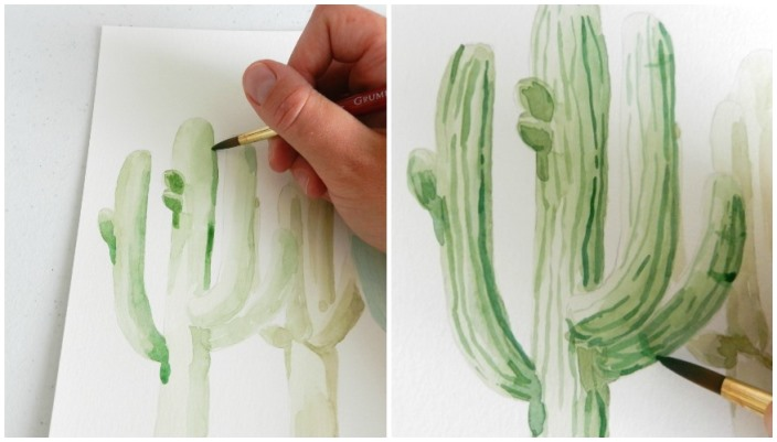 Use a small brush to add fine details in your watercolor cactus painting