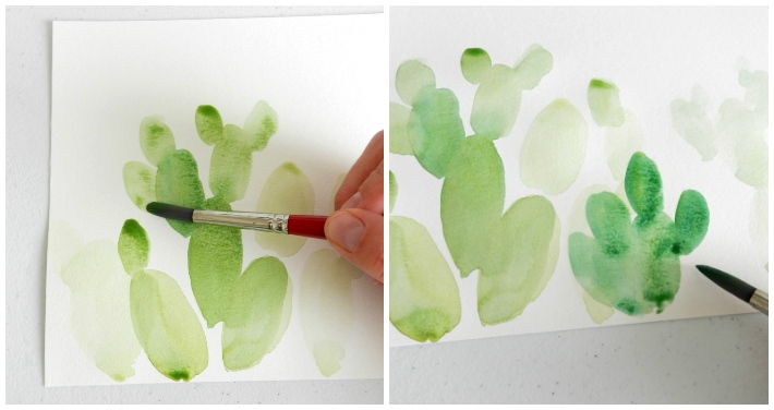 Paint prickly pear cactuses by layering green watercolor ovals.