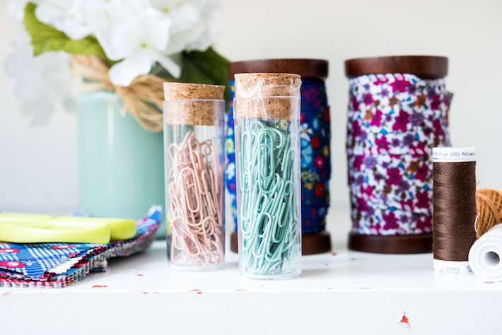 Test Tubes and Wooden Spools for Sewing Room