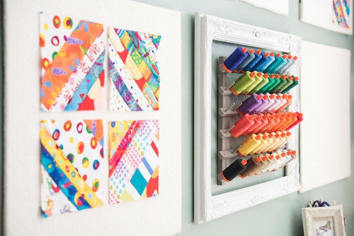 Wall-Mounted Design Boards and Thread Storage