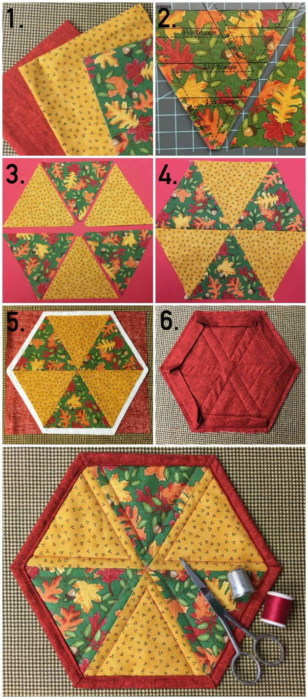 Quilted Hexagon Mug Rug — Free Pattern & Tutorial on Bluprint!