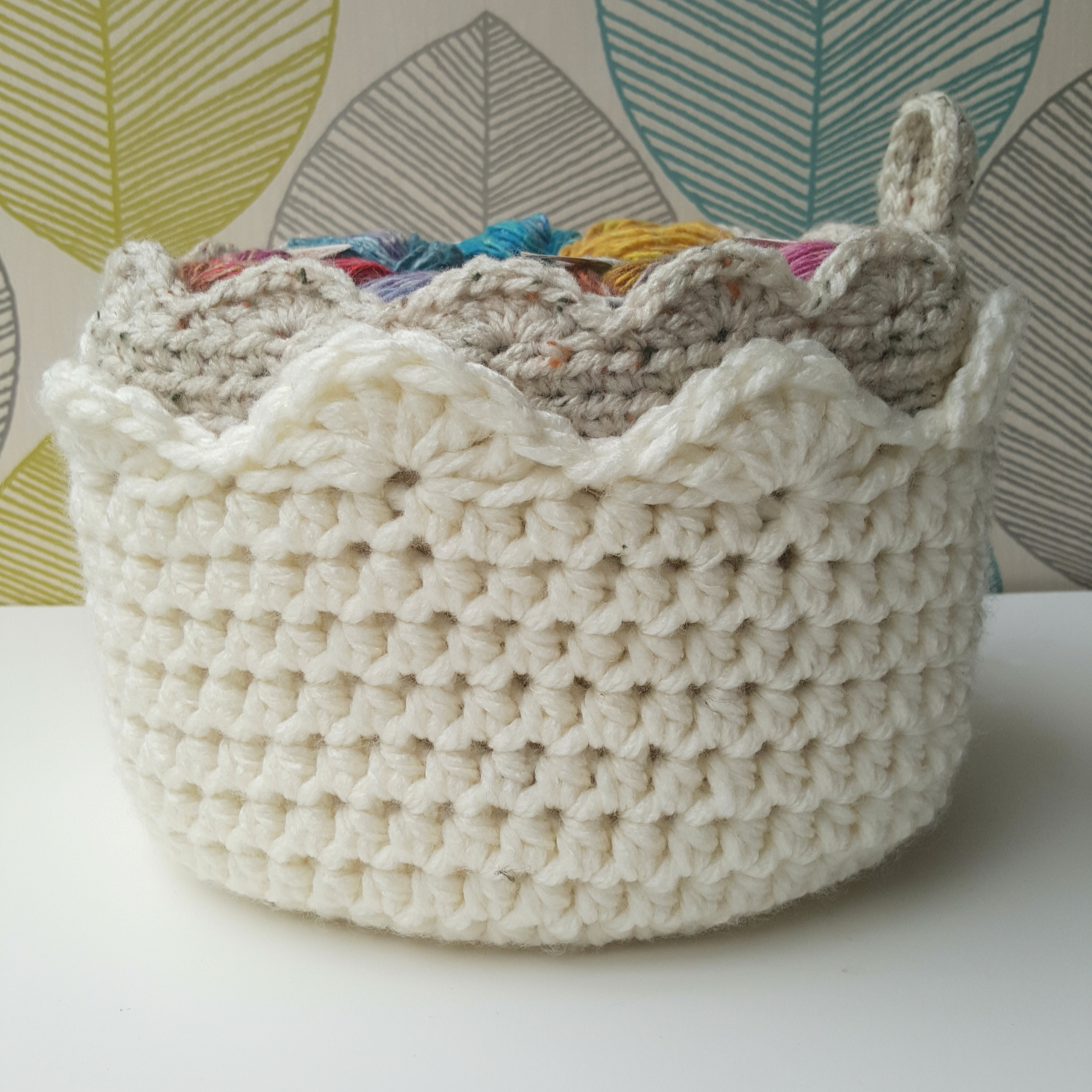 Stacked Crochet Baskets With Scallop Edgings
