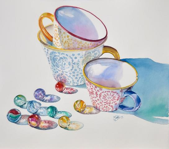 Teacups Watercolor Painting