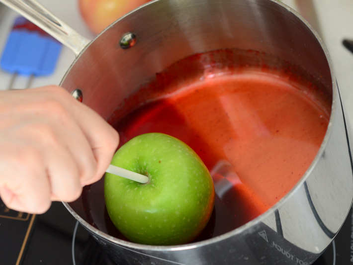Dipping Homemade Candy Apples