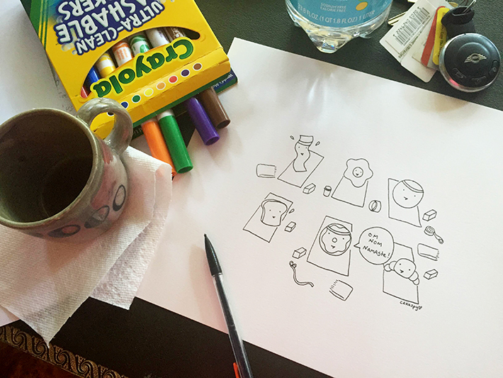 A cluttered desk while drawing can hurt your artwork.