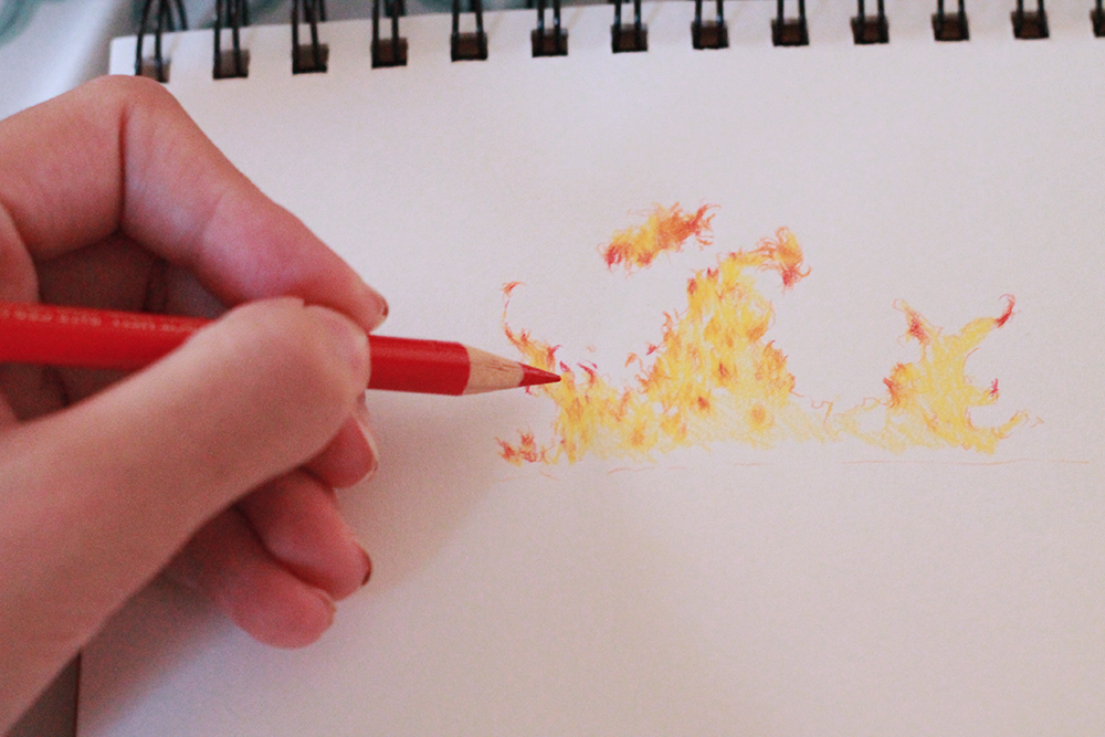 Drawing fire in colored pencil