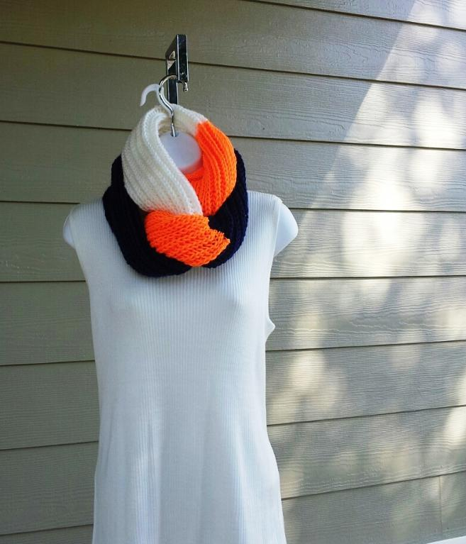 Tri-Color Team Infinity Scarf Knitting Pattern