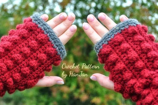 Fingerless Bobble Crochet Gloves Crochet Pattern