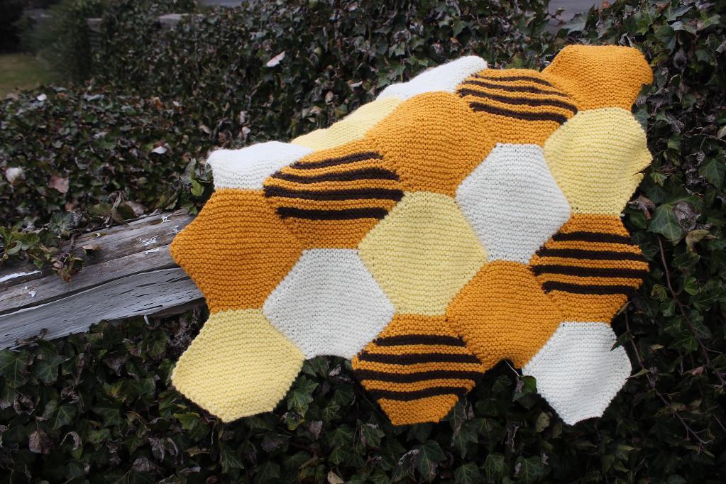 Beehaus (No-Sew Blanket) Knitting Pattern