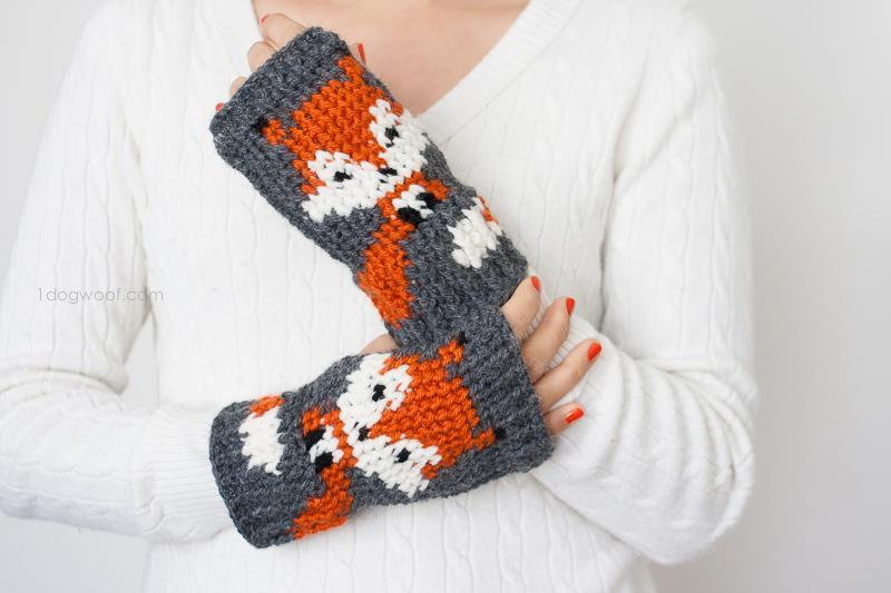 Fox Handwarmer Fingerless Gloves Crochet Pattern